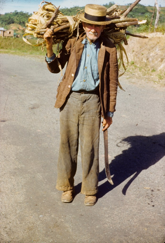 """Man carrying firewood""<br>Wilbur Nachtigall - ca 1949"